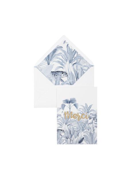 Blue Jungle Greeting Card - Merci