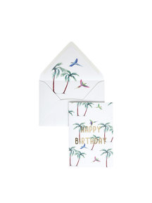 Parrot Palm Greeting Card - Happy Birthday