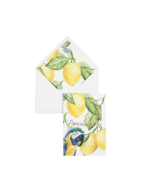 Yellow Lemon Tree Wenskaart - Congratulations