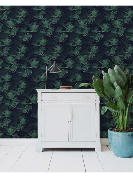 Palm Leaves Dark Green Wallpaper