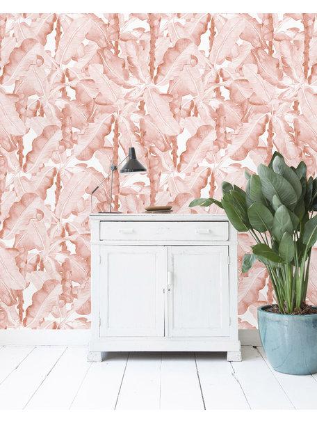 Banana Leaves Watercolor Pink Behang