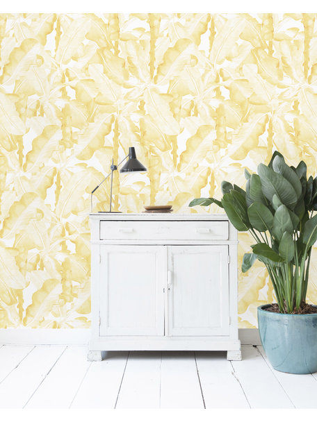 Banana Leaves Watercolor Yellow Wallpaper