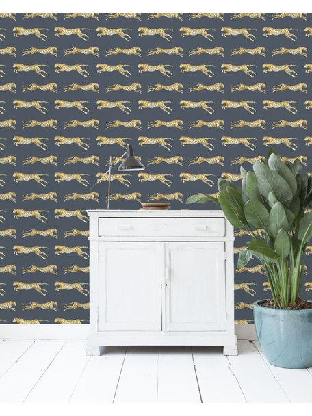 Leopard Blue Behang