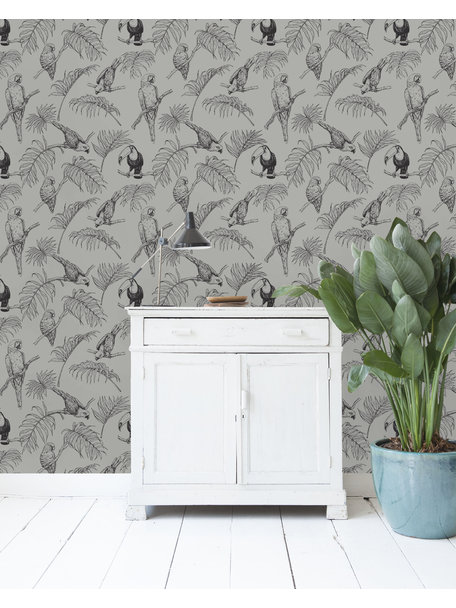 Tropic Tucan Taupe Wallpaper