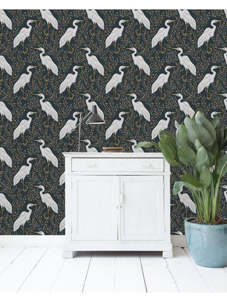 White Heron Dark Behang