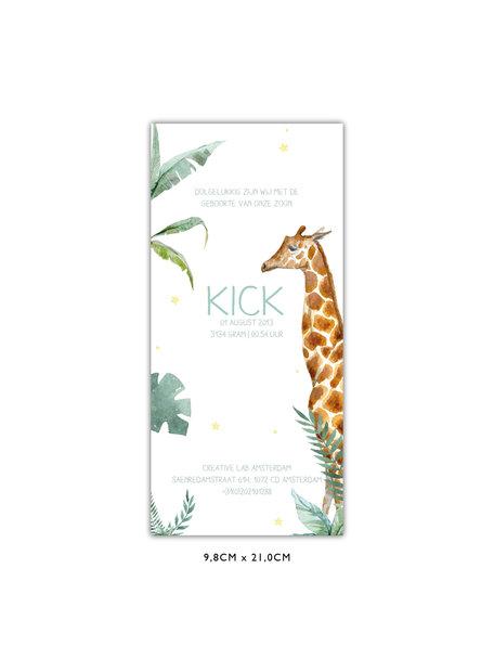 Creative Lab Amsterdam Giraffe Boy Baby Card 98x210 Single