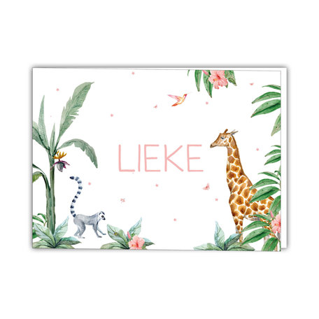 Creative Lab Amsterdam Baby Announcement Card - Giraffe Girl 148x105