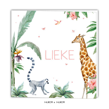 Creative Lab Amsterdam Baby Announcement Card - Giraffe Girl 148x148
