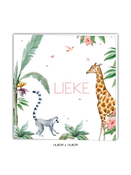 Creative Lab Amsterdam Giraffe Girl Baby Card 148x148 Square