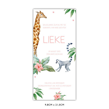 Creative Lab Amsterdam Giraffe Girl Baby Card 98x210 Single