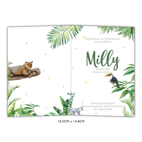 Creative Lab Amsterdam Baby Announcement Card - Jungle Tiger 105x148