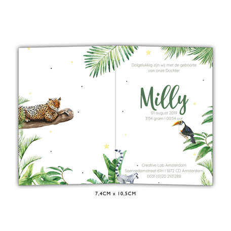 Creative Lab Amsterdam Baby Announcement Card - Jungle Tiger 74x105