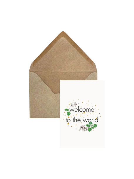 Creative Lab Amsterdam Elephant Grass Greeting Card - Welcome to the World