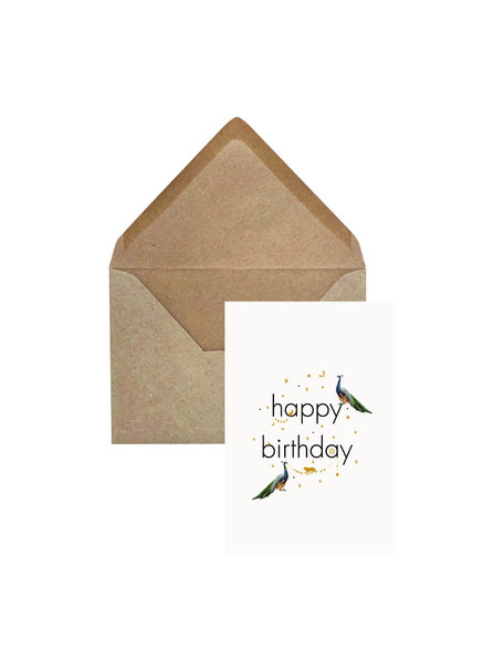 Creative Lab Amsterdam Olifantsgras Wenskaart- Peacock Happy Birthday
