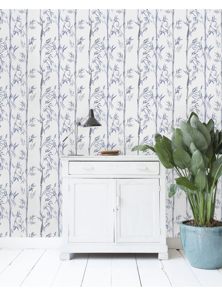 Bamboo White & Blue Behang