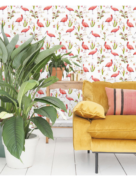 Pink Bird Behang