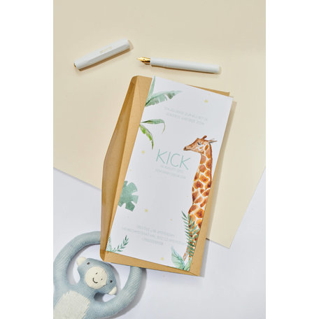 Creative Lab Amsterdam Baby Birth Announcement Card - Giraffe Boy 105x148