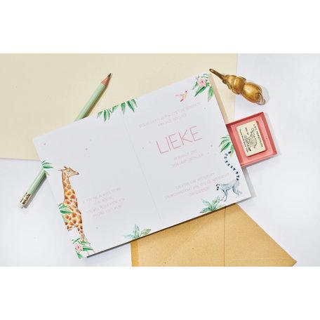 Creative Lab Amsterdam Baby Announcement Card - Giraffe Girl 105x148