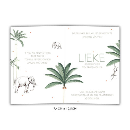 Creative Lab Amsterdam Baby Announcement Card - Elephant 74x105
