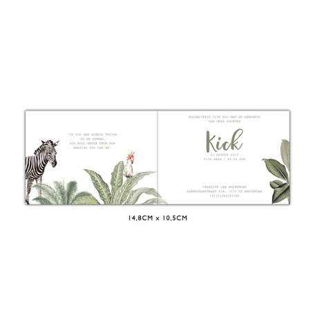 Creative Lab Amsterdam Baby Announcement Card - Into the wild 148x105