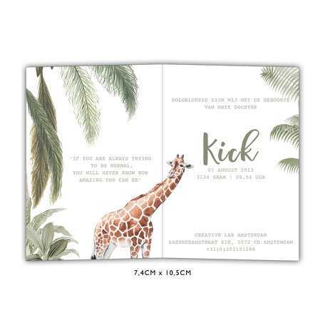 Creative Lab Amsterdam Baby Announcement Card - Into the wild  74x105