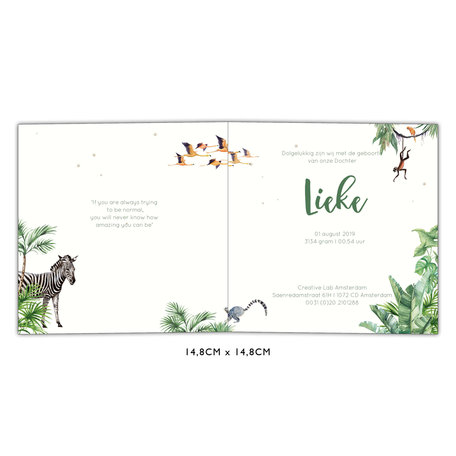 Creative Lab Amsterdam Baby Announcement Card - King of the Jungle 148x148