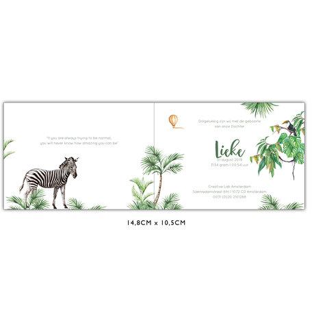 Creative Lab Amsterdam Baby Announcement Card - Monkey Jungle 148x105