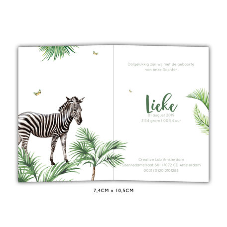 Creative Lab Amsterdam Baby Announcement Card - Monkey Jungle 74x105