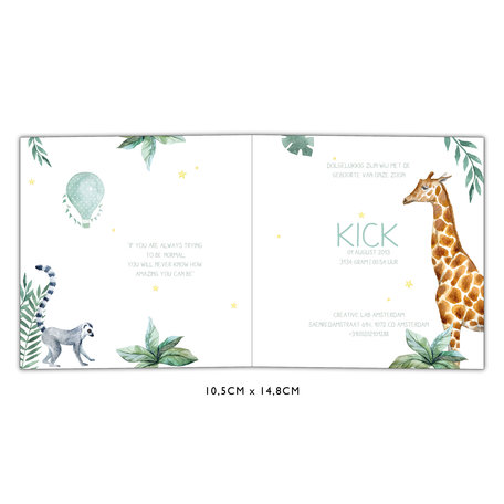 Creative Lab Amsterdam Baby Announcement Card - Giraffe Boy 148x148
