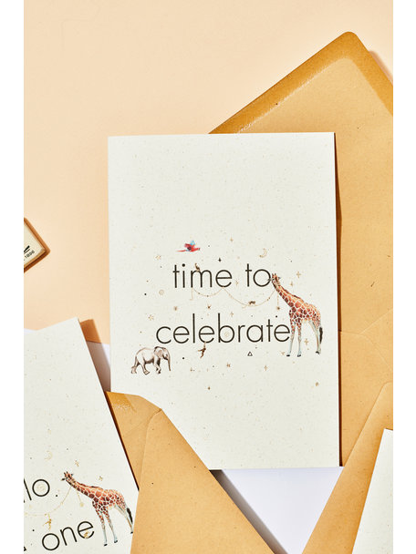 Creative Lab Amsterdam Olifantsgras wenskaart - Time to Celebrate