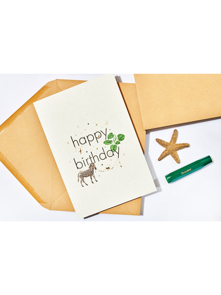Creative Lab Amsterdam Elephant Grass Greeting Card- Zebra Happy Birthday