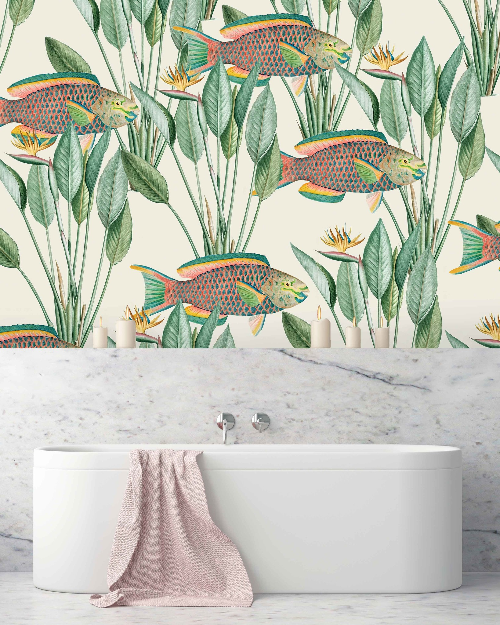 Parrot Fish Bathroom Wallpaper, Fish Wallpaper For Bathroom