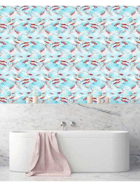 Creative Lab Amsterdam Fishes Bathroom Wallpaper Blue