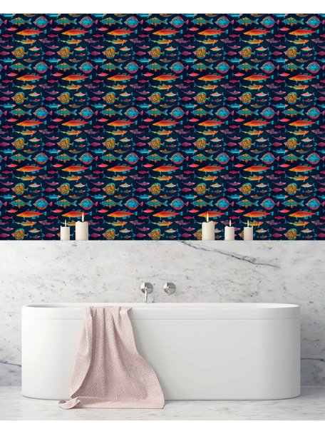 Creative Lab Amsterdam Night Fishes Bathroom Wallpaper