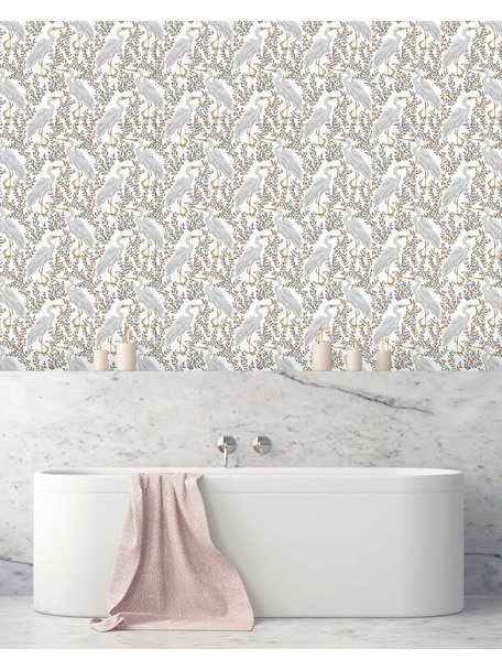 Creative Lab Amsterdam White Heron Bathroom Wallpaper Light