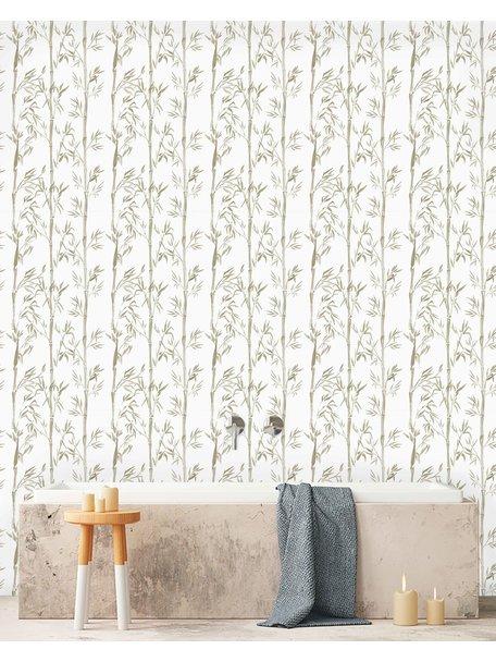Creative Lab Amsterdam Bamboo Bathroom Wallpaper Grey