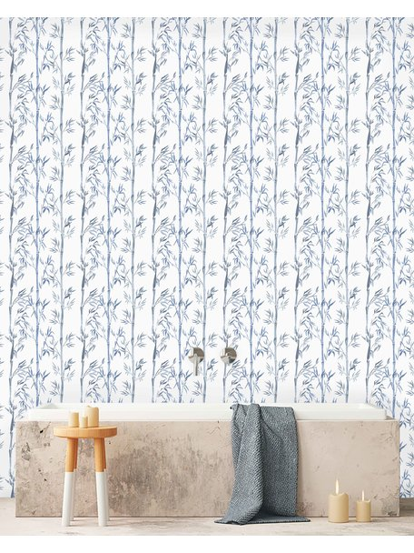 Creative Lab Amsterdam Bamboo Bathroom Wallpaper White Blue