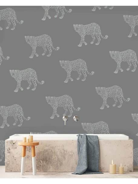 Creative Lab Amsterdam Panther Bathroom Wallpaper Grey