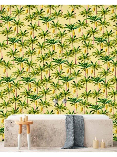 Creative Lab Amsterdam Golden Bananas Bathroom Wallpaper Yellow
