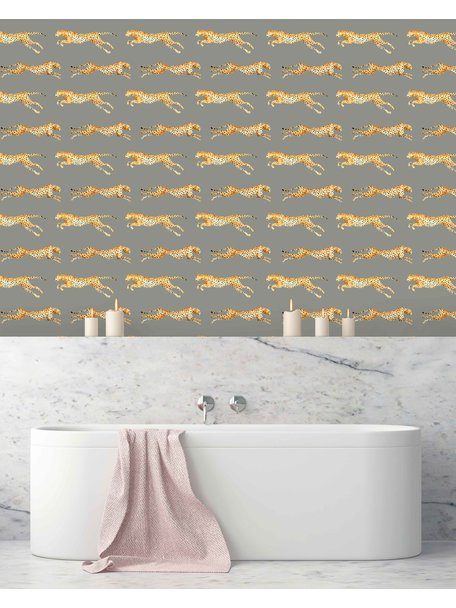 Creative Lab Amsterdam Leopard Bathroom Wallpaper Grey