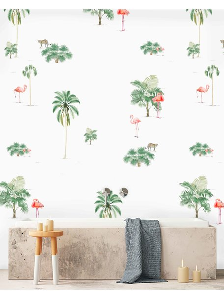 Creative Lab Amsterdam Flamingo & Tiger Badkamer Behang