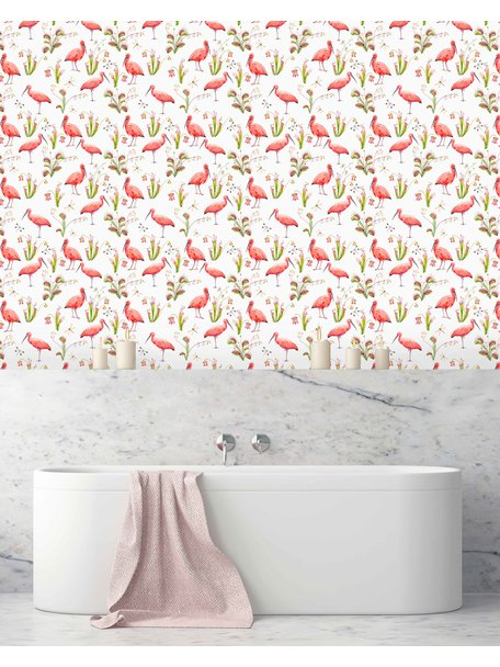 Pink Bird Bathroom Wallpaper