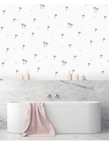 Palms & Dots Bathroom Wallpaper