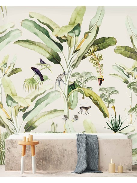 Creative Lab Amsterdam Baby Bananas Bathroom Wallpaper setting