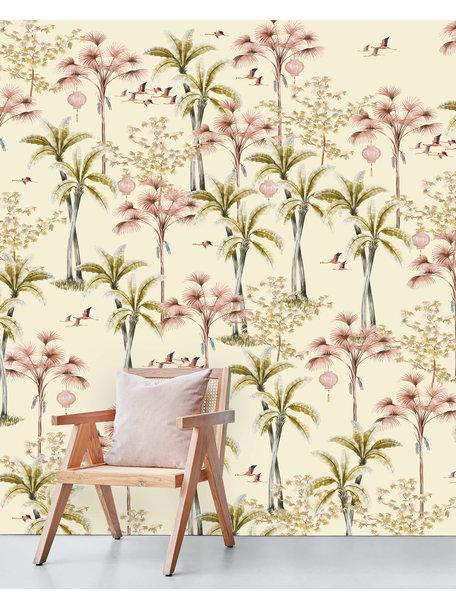 Oriental Flamingo Flight Wallpaper