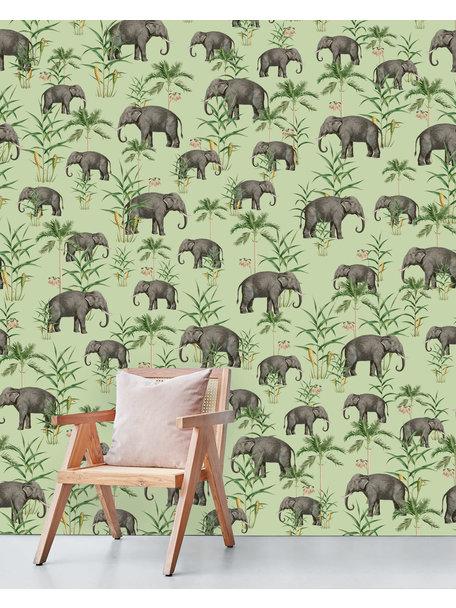 Oscar the Elephant Green Behang