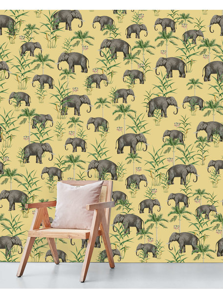 Creative Lab Amsterdam Oscar the Elephant Yellow Wallpaper