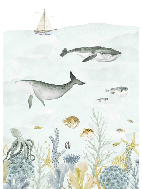 Creative Lab Amsterdam Sealife Blue Behang