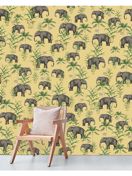Oscar the Elephant Yellow Behang