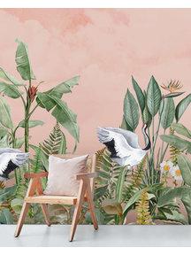 Dancing crane birds Behang
